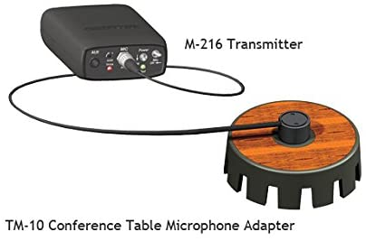 M-216 Transmitter connected to a TM-10 Conference Table Microphone Adapter