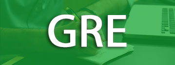 GRE title with green overlay over a picture of a student with a laptop