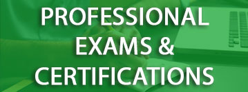 Professional Exams and Certifications title with green overlay over a picture of a student with a laptop