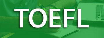 TOEFL title with green overlay over a picture of a student with a laptop