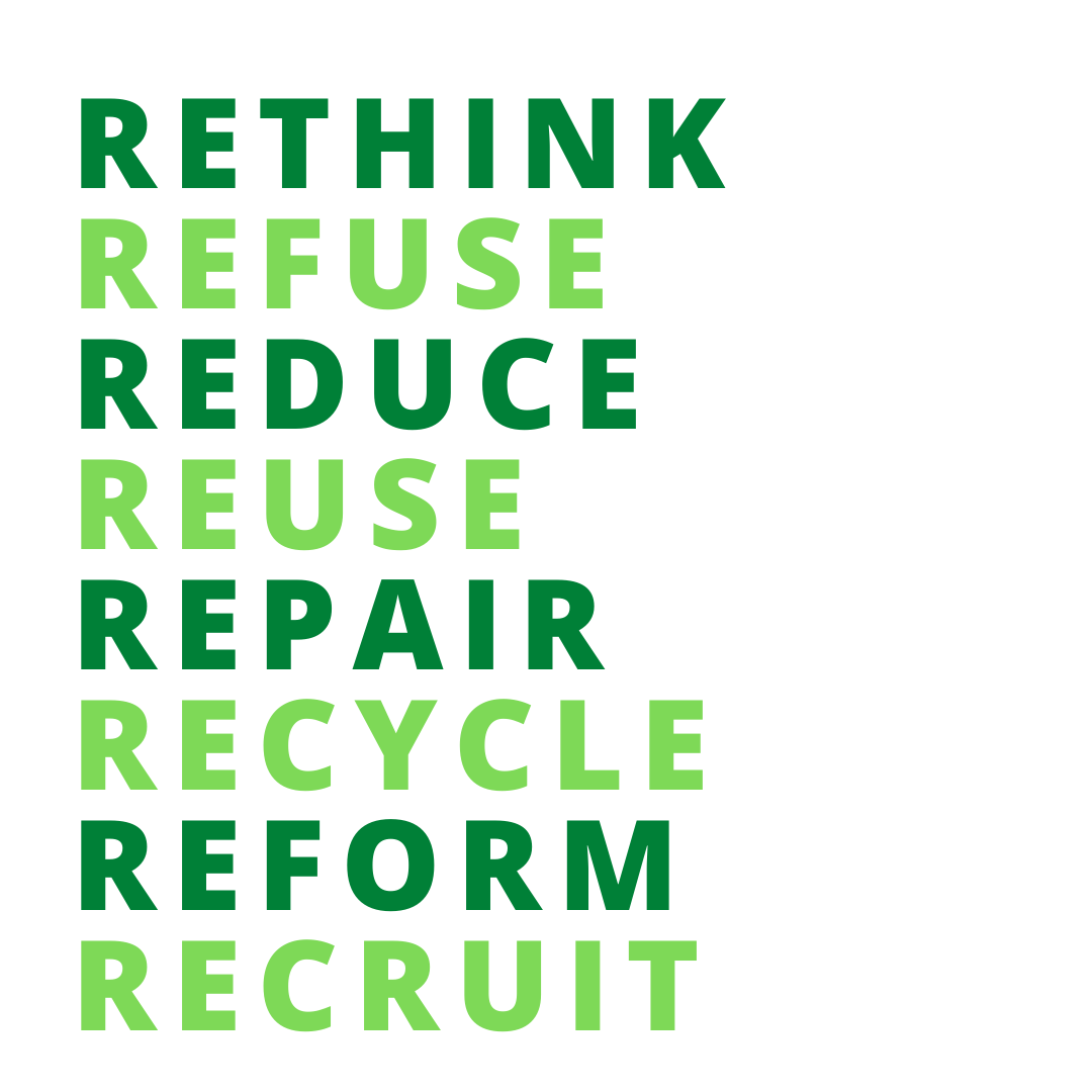 8 Rs of Reducing Waste: Rethink, Refuse, Reduce, Reuse, Repair, Recycle, Reform, Recruit