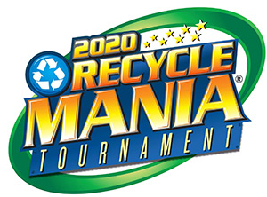 Yellow and blue RecycleMania 2020 tournament logo features a bright blue and white recycle arrow sign