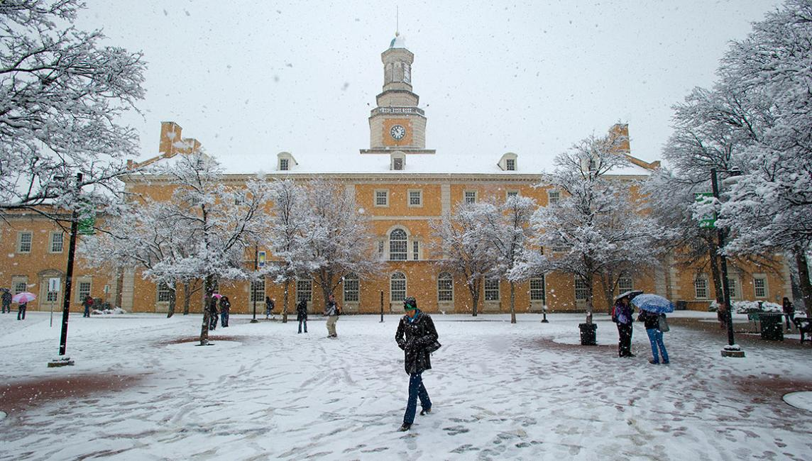 Admin Building With Snow