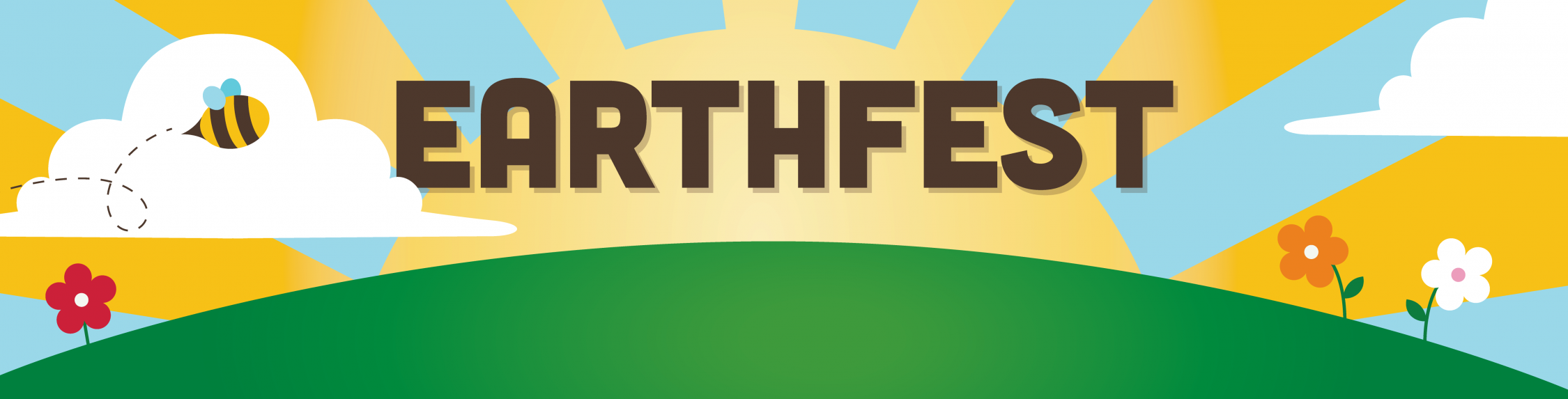 "Graphic of a sunset with text that says ""EarthFest""."