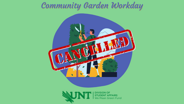 Image of person trimming a bush with the text 'Community Garden Workday'