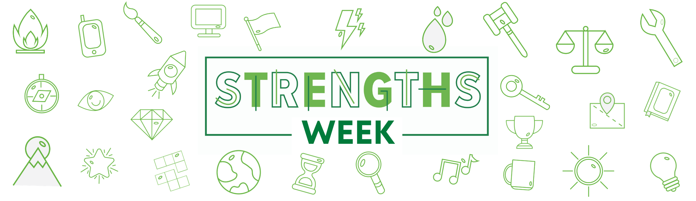 Strengths Week in green letters. Icons representing the various talent themes form a pattern in the background.