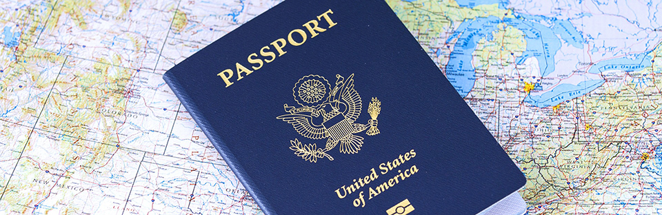Photo of passport and map