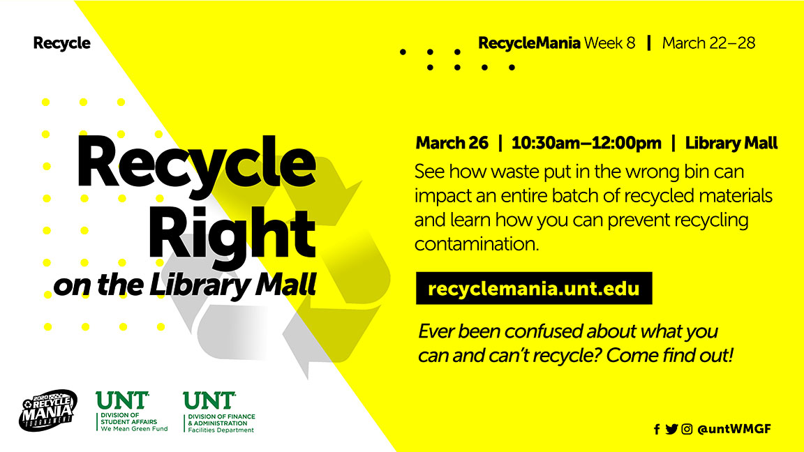 Recycle Right on the Library Mall - See how waste put in the wrong bin can impact an entire batch of recycled materials and learn how you can prevent recycling contamination. Ever been confused about what you can and can't recycle? Come find out!