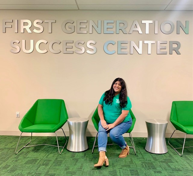 Desiree Padron posing for photo at the First-Generation Success Center