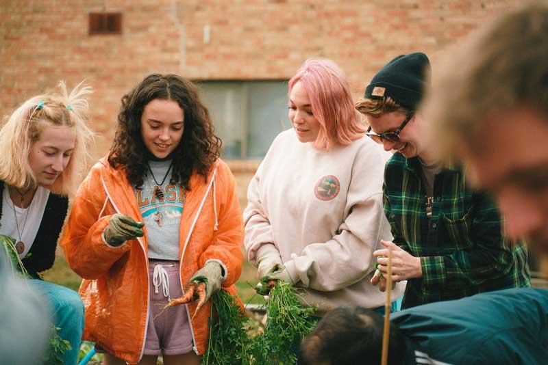 Students in community garden