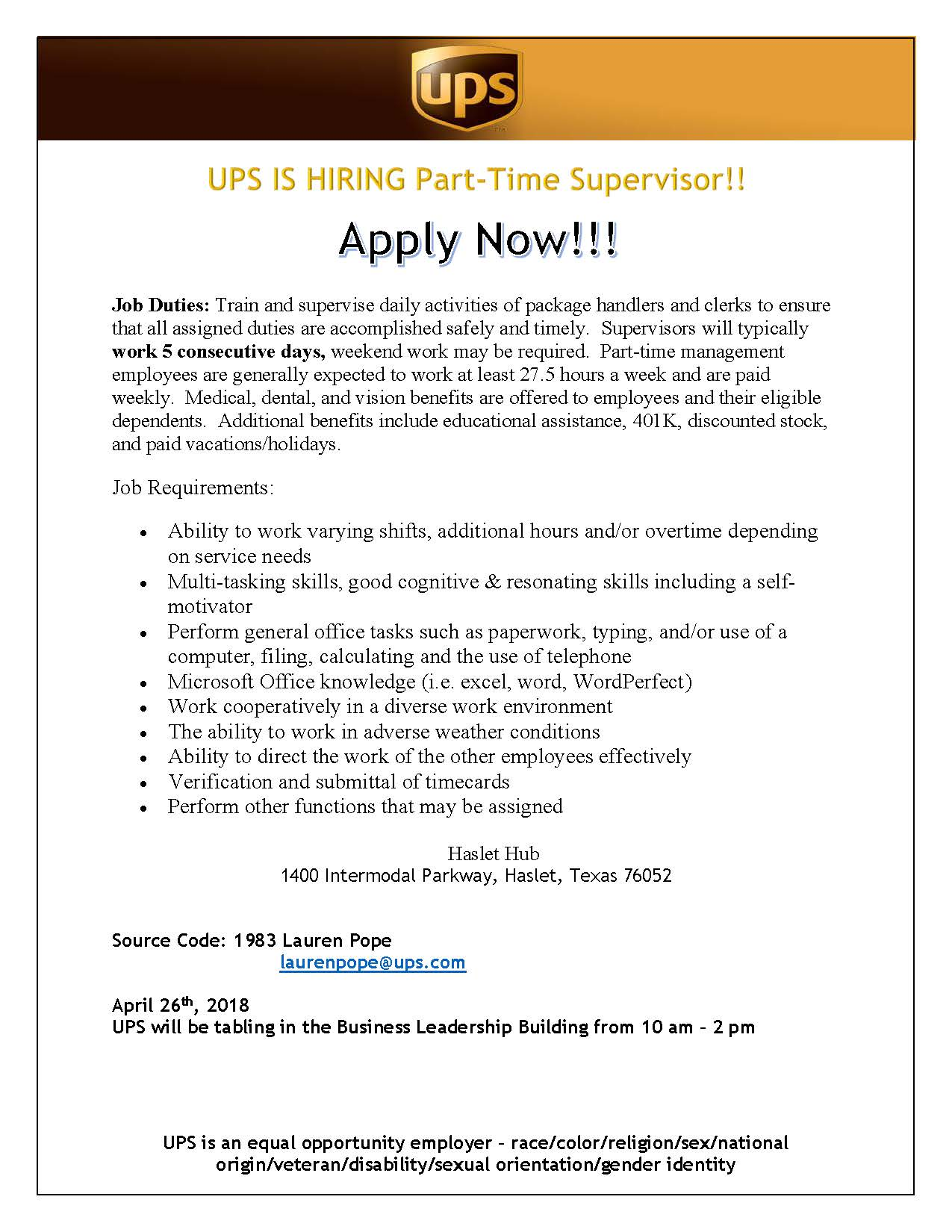 UPS Job Information   Division of Student Affairs