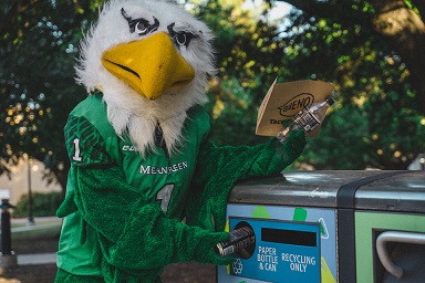 Scrappy the mascot recycling on campus