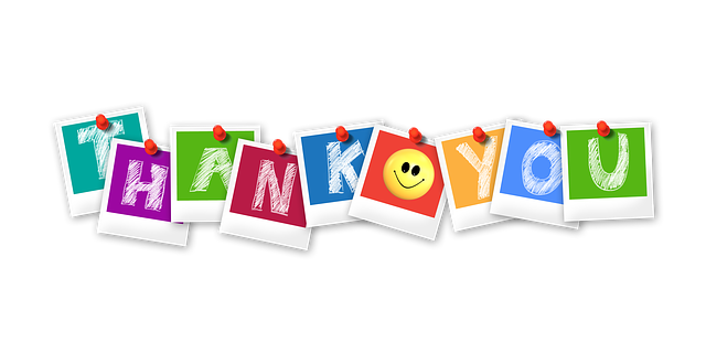 Thank You in colorful letters