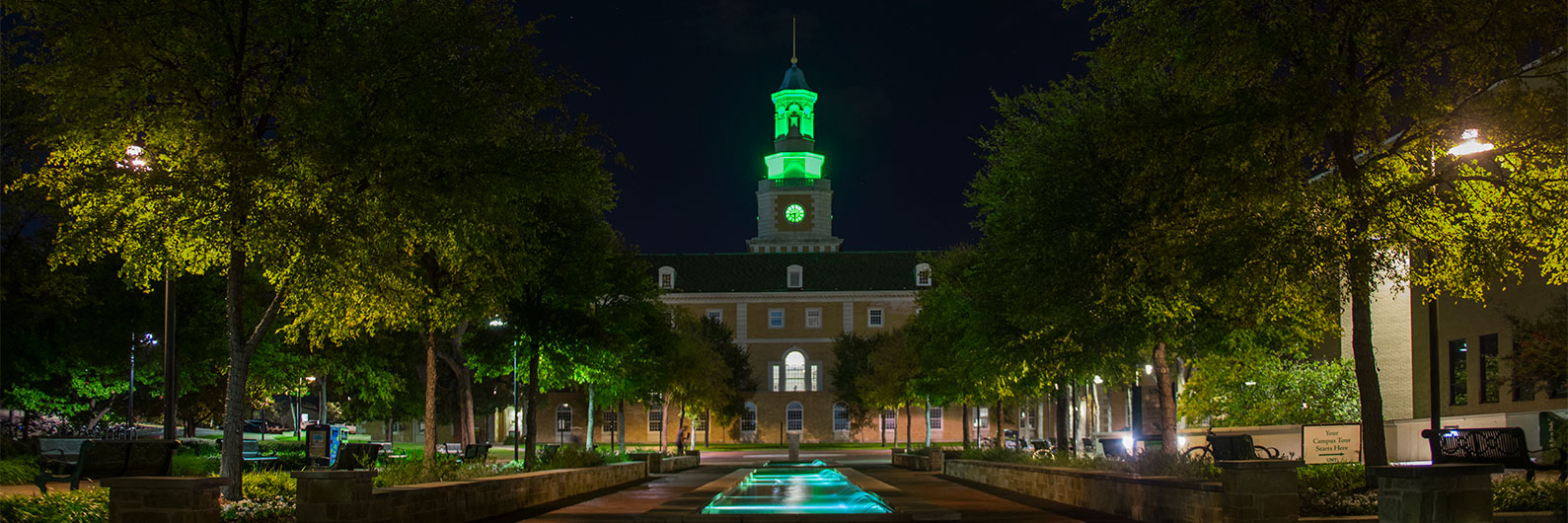 UNT bell tower at right