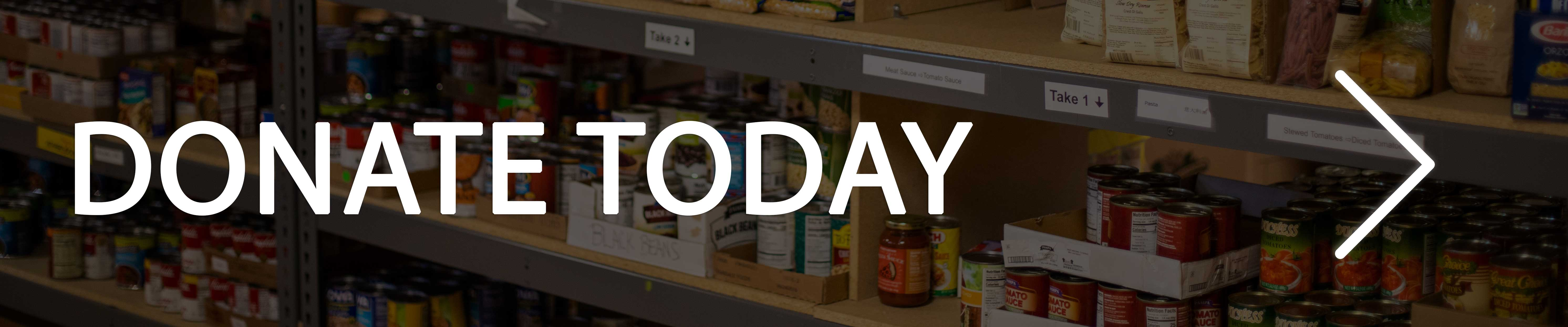 Donate Today text with canned foods displayed behind it