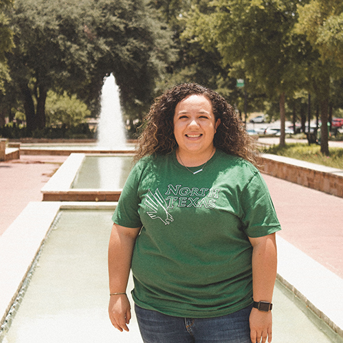 Kristen Sosa in front of UNT library mall