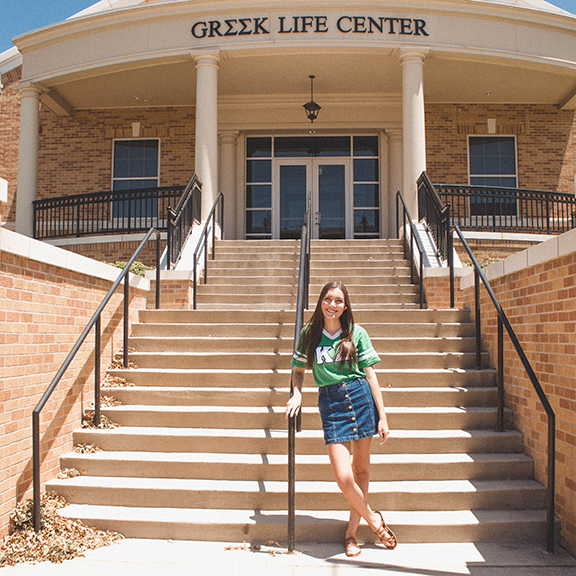 shaelynn wolfe inf front of the greek life center