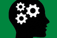 outline of a person's head with gears inside, an icon representing skills