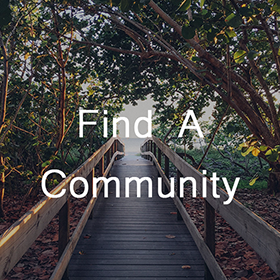 Find A Community button with nature path