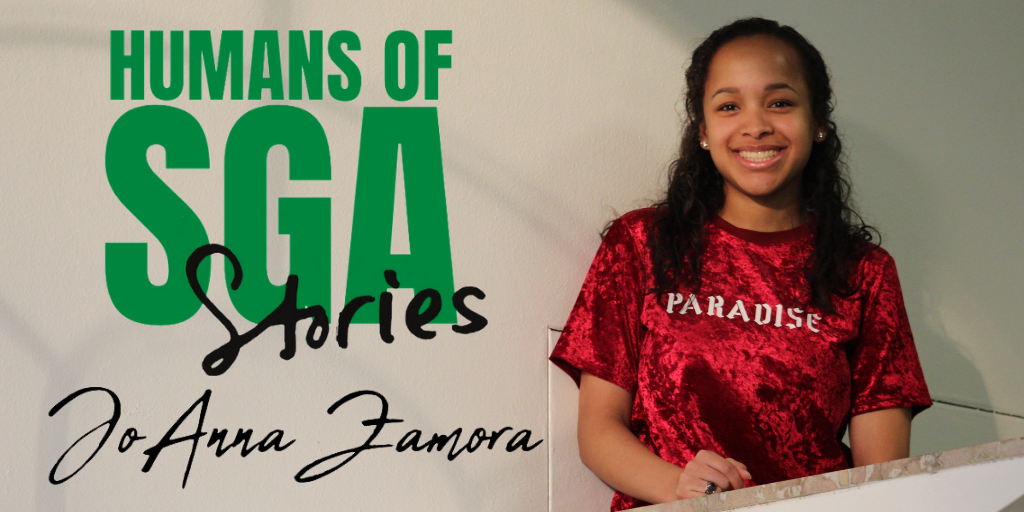 Profile photo of Joanna Zamora with SGA logo