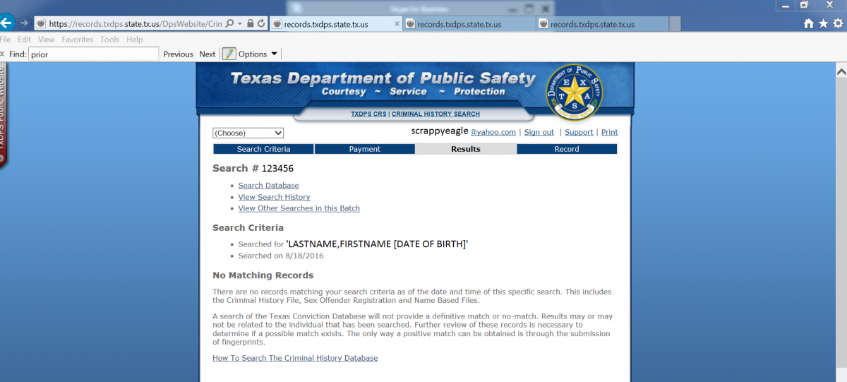 Texas Department of Public Safety webpage