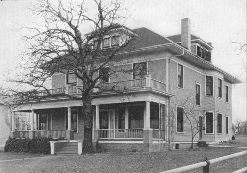 Grayscale photo of old house used as original on-campus hospital