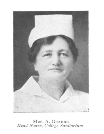 Nurse Grabbe, first clinical director, grayscale