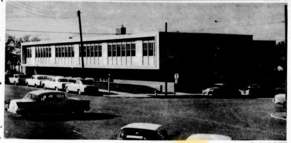 Grayscale photo of third on-campus hospital, 1957