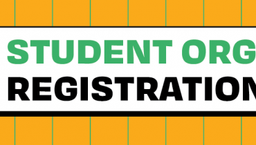 """Graphic that reads """"Student Org Registration""""."""