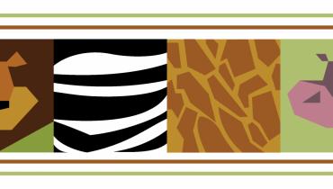 Illustration of a lion, zebra, giraffe and hippo
