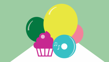 Illustration of balloons and a cupcake.