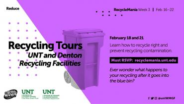 Recycling Tours UNT and Denton Recycling Facilities Learn how to recycle right and prevent recycling contamination. Ever wonder what happens to your recycling after it goes into the blue bin?