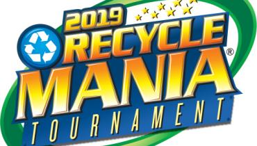 Orange and Yellow 2019 RecycleMania logo with a green circle in the background and small stars