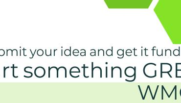 """Bright green hexagons containing small sustainability-themed images of water droplets, a lightning bolt, and a tree surround text that reads: """"Submit your idea and get it funded! Start something green. WMGF.unt.edu"""""""