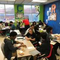 Freshman Students at Ryan HS getting tutored during weekly afterschool meetings.