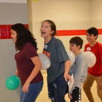 Talent Search Freshmen learning and laughing - as they work together during Goal-Setting activity at A-TEAM Orientation