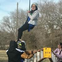 """Talent Search Class Reps from Ryan and Denton High Schools learning to face fears and """"Hang In There"""" when encountering challenges at the Teambuilding Retreat"""