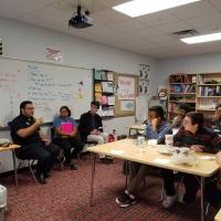 GHS students learn about a day in the life of an athletic trainer from Javier Espinoza.