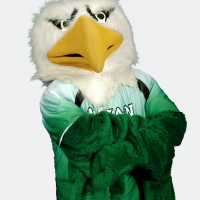 Headshot of Scrappy in Mean green Jersey with arms crossed