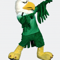 scrappy in mean green jersey with arms pointing to up