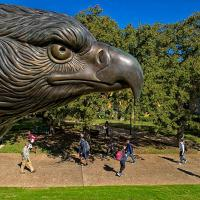 Students going to class next to UNT Eagle Statue