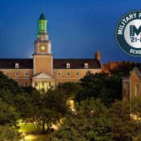 UNT campus with Military Friendly logo