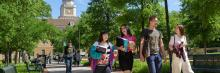 Students walking on the campus of The University of North Texas