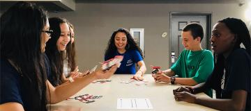 Students Playing Card Games
