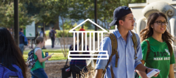 Students on campus with building logo over photo