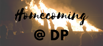 Students at the homecoming bonfire