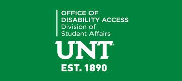 Green UNT Office of Disability Access Logo - Division of Student Affairs