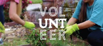 """Students planting plants in a garden with text saying """"volunteer"""""""