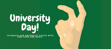 University Day at DP with drawing of someone holding up the unt claw hand sign