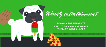 "Pug with pizza and Popsicle saying ""weekly entertainment"""